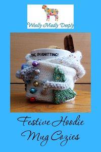 Festive Hoodie Mug Cozies Pattern Snowman