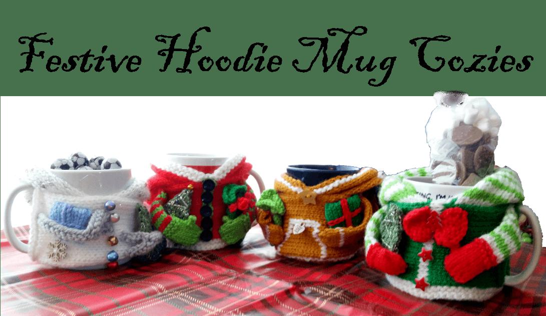 Fabulous Festive Hoodie Mug Cozies pattern Christmas Knitting 4 Characters